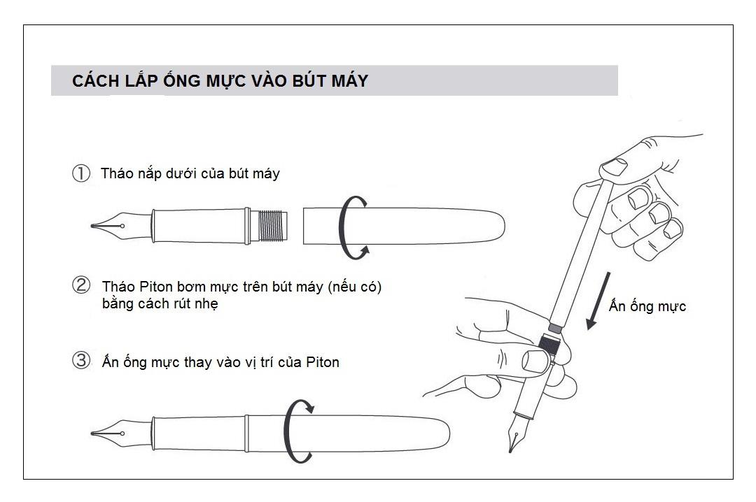 hướng dẫn lắp ống mực vào bút máy